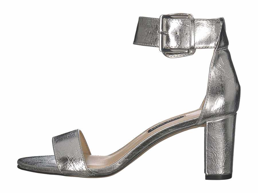Nine West Women Silver Plydn 3 Heeled Sandals