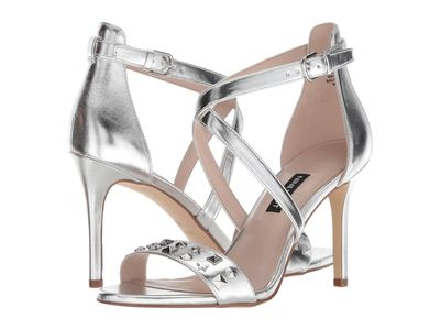 Nine West Women Silver Synthetic Maziany Heeled Sandals