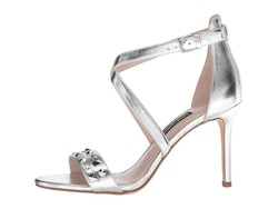 Nine West Women Silver Synthetic Maziany Heeled Sandals - Thumbnail