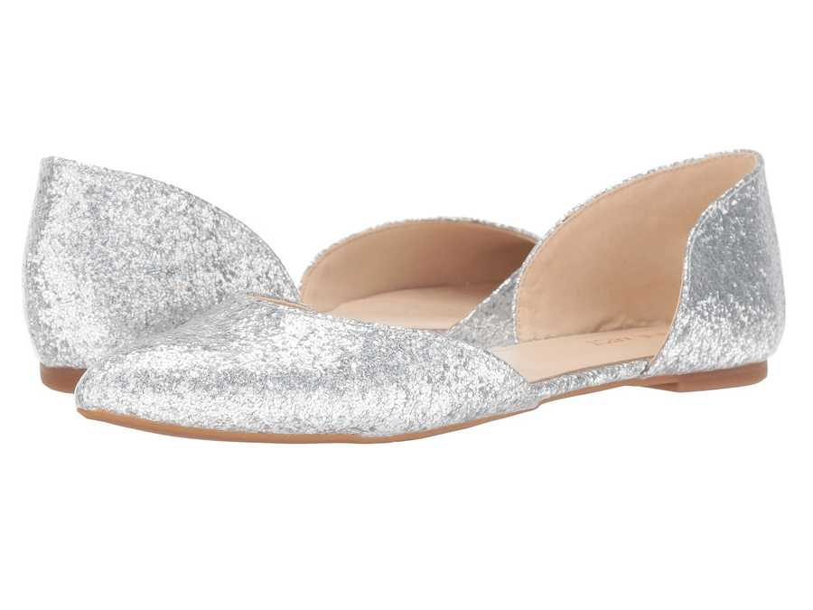 Nine West Women Silver Synthetic Starship D'Orsay Flat Flats