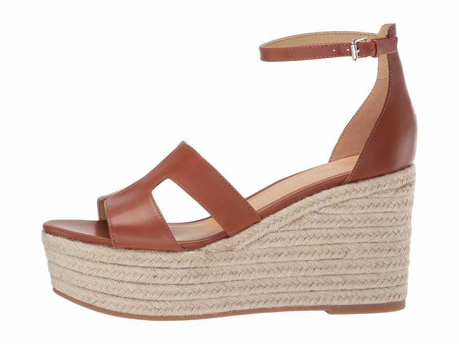 Nine West Women Tan Chestnut Adelyn Espadrille Wedge Wedge Heels