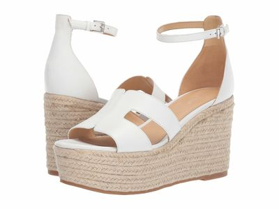 Nine West - Nine West Women White Adelyn Espadrille Wedge Wedge Heels