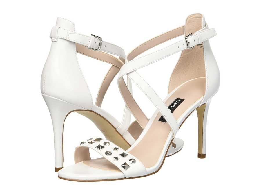 Nine West Women White Leather Maziany Heeled Sandals