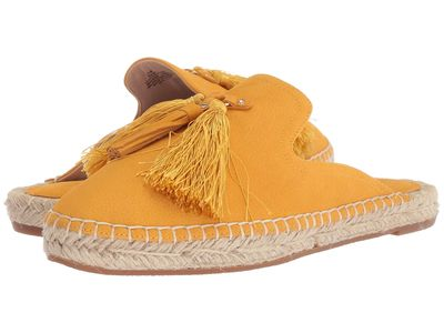 Nine West - Nine West Women Yellow Leather Val Espadrille Mule Loafers