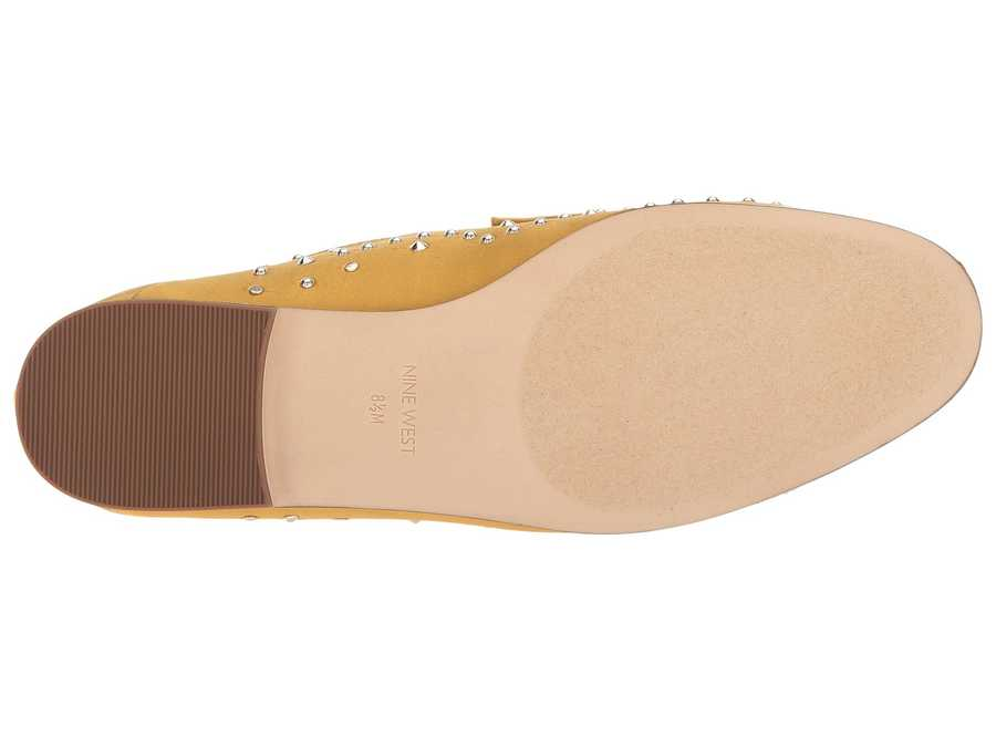 Nine West Women Yellow Satin Westoy Loafer Loafers