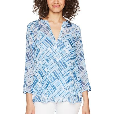 NYDJ - Nydj Blissful Sky Tranquility Split Neck Blouse