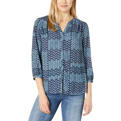 NYDJ - Nydj Camino Etchings Peacoat Blouse W/ Pleated Back