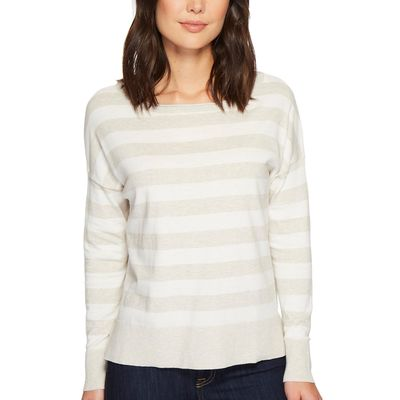 NYDJ - Nydj Heather Grey Rugby Stripe Long Sleeve Striped Sweater