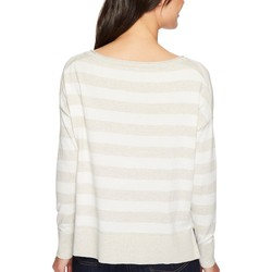 Nydj Heather Grey Rugby Stripe Long Sleeve Striped Sweater - Thumbnail