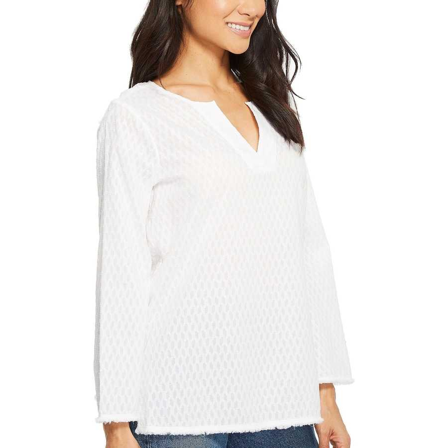Nydj Optic White Fray Edge Bell Sleeve Popover