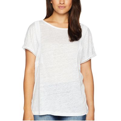 NYDJ - Nydj Optic White Linen Tee W/ Lace Detail