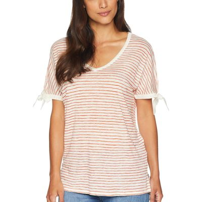 NYDJ - Nydj Paint Stripe Blaze Printed Tie Sleeve V-Neck T-Shirt