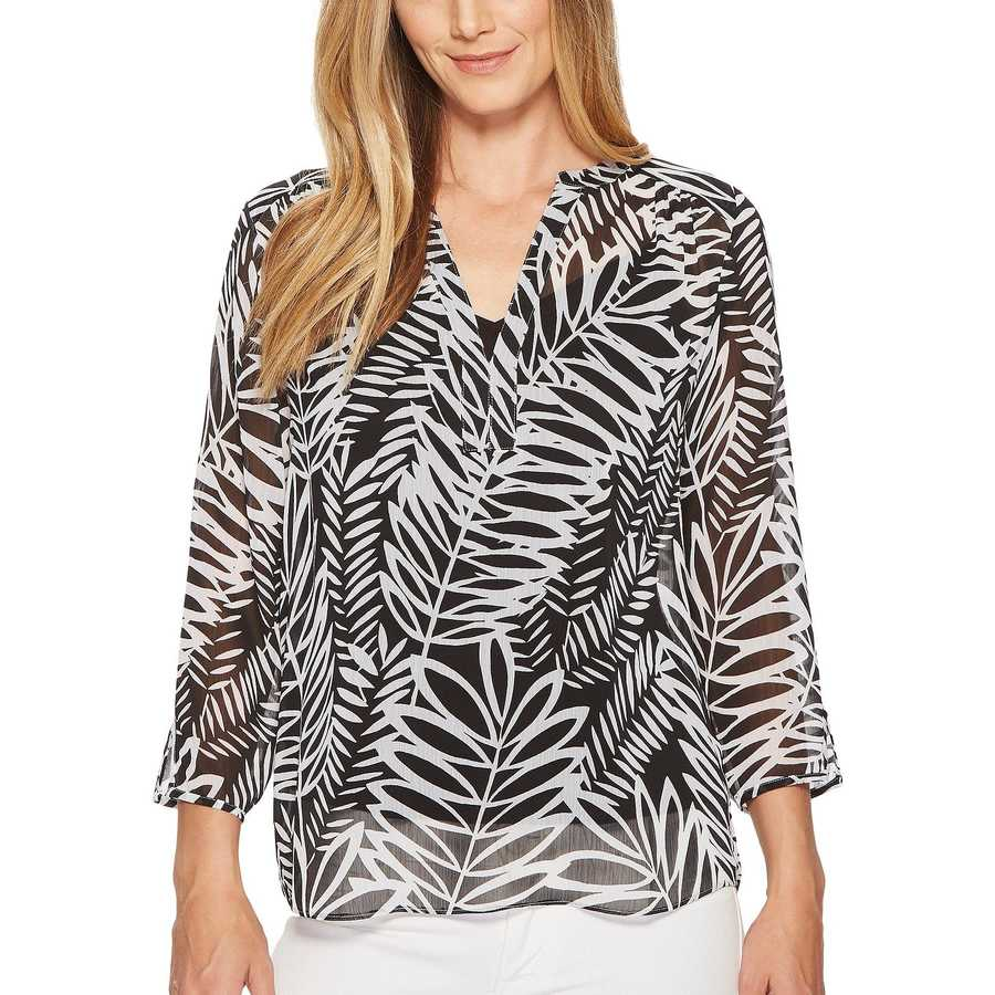 Nydj Twentynine Palms Split Neck Blouse