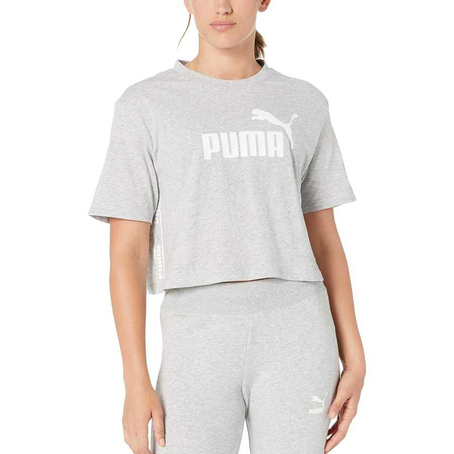 Puma Light Grey Heather Amplified Cropped Tee