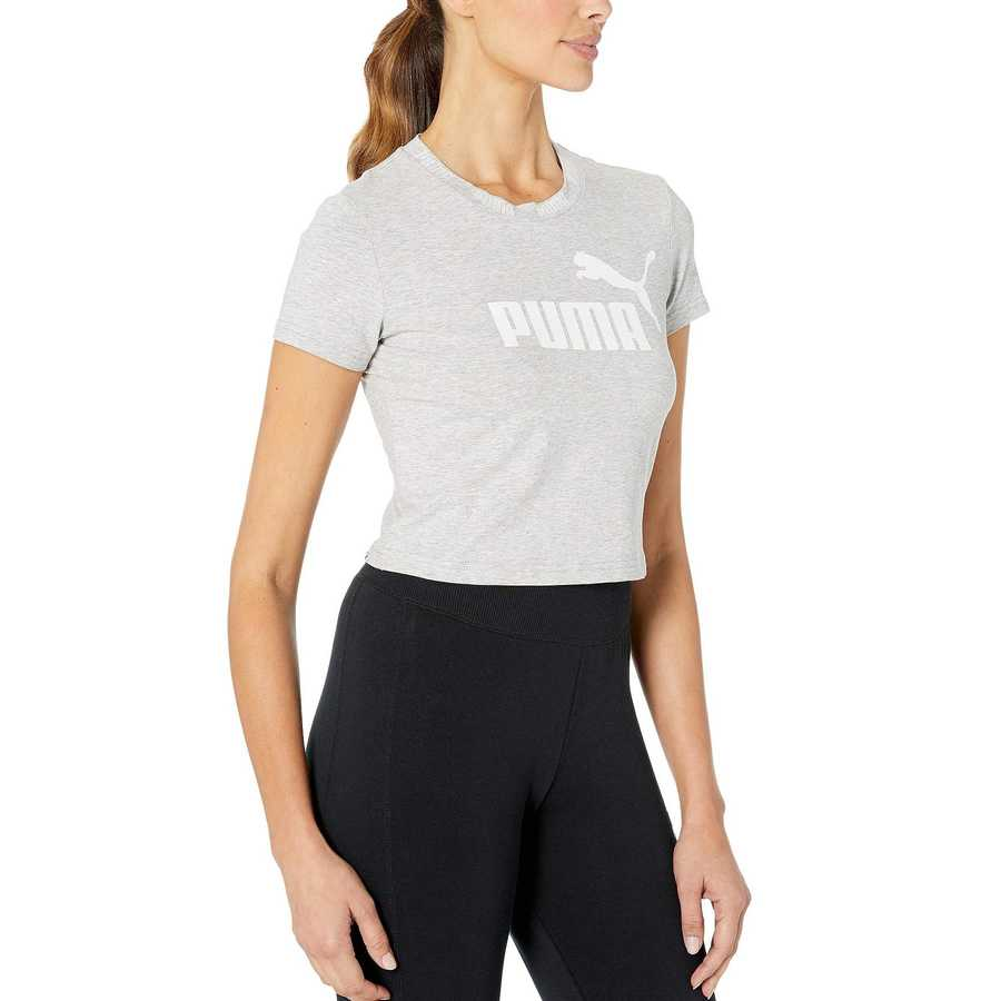 Puma Light Grey Heather Amplified Logo Cropped Tee