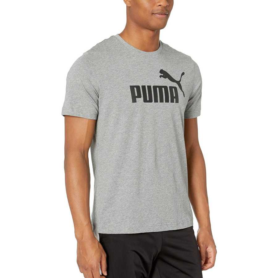 Puma Medium Grey Heather Ess Logo Tee