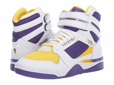 Puma - Puma Men Puma White/Prism Violet/Dandelion Palace Guard Mid Finals Lifestyle Sneakers