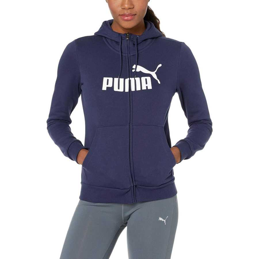 Puma Peacoat Essential Logo Fleece Hooded Jacket