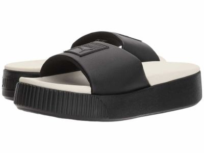 Puma - PUMA Women's Puma Black Whisper White Platform Slide Flat Sandals