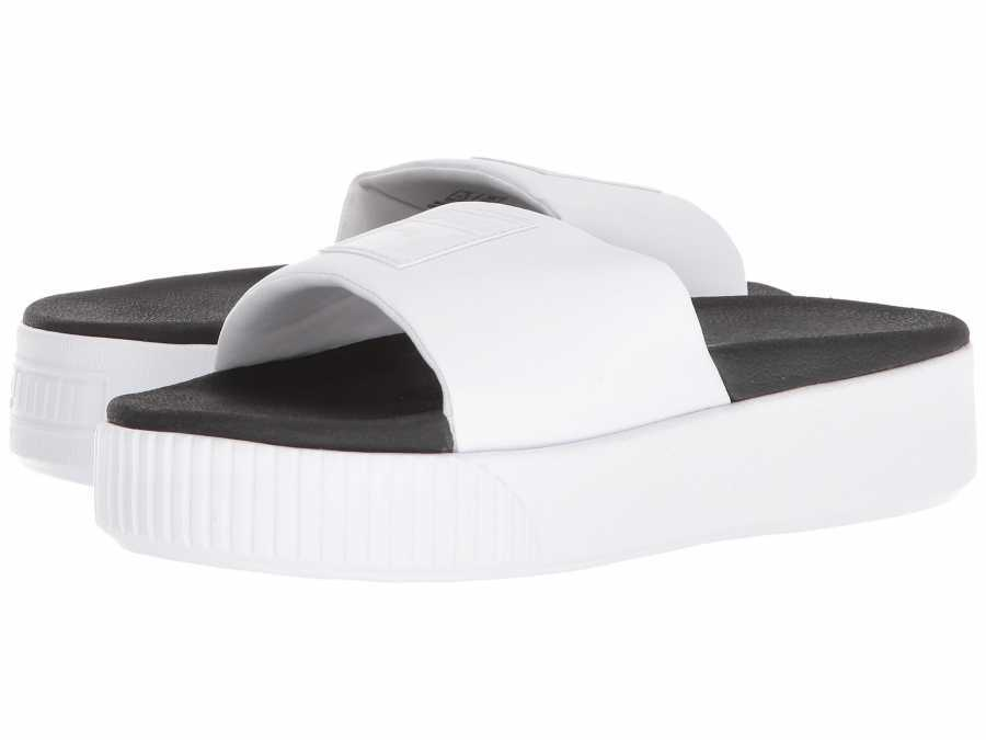 PUMA Women's Puma White Puma Black Platform Slide Flat Sandals