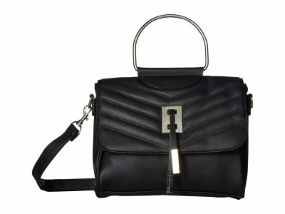 Rampage - Rampage Black Chevron Metal Handle Quilted Cross Body Bag