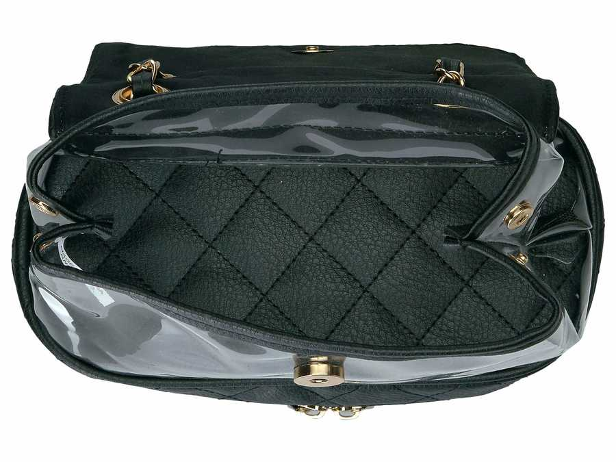 Rampage Black Clear Vinyl And Diamond Quilted Backpack