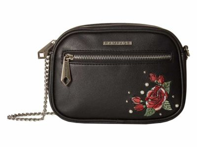 Rampage - Rampage Black Embroidered Floral Cross Body Bag