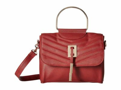 Rampage - Rampage Red Chevron Metal Handle Quilted Cross Body Bag