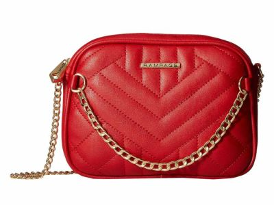 Rampage - Rampage Red Quilted Cross Body Bag with Chain Front Detail