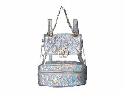 Rampage - Rampage Silver Clear Vinyl And Diamond Quilted Backpack