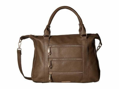 Rampage - Rampage Taupe Zipper Detailed Bag, Removable Strap Cross Body Bag