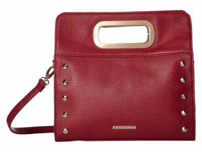Rampage - Rampage Wine Clutch Cross Body Bag with Metal Handles and Strap