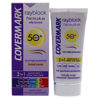 Covermark - Rayblock Face Plus Tinted Cream 2-in-1 Waterproof SPF 50 - Oily Skin-Light Beige 1,69oz