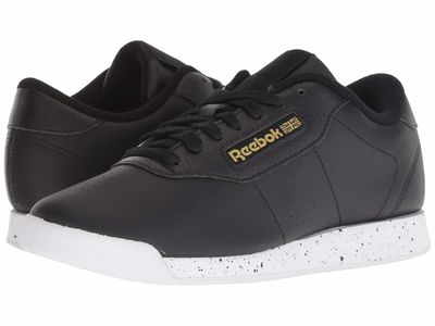 Reebok - Reebok Women Black/White/Gold Metallic Princess Lifestyle Sneakers