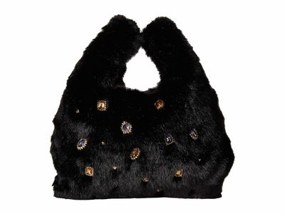 Sam Edelman - Sam Edelman Black Fur Jessamy Mini Shopper Cross Body Bag