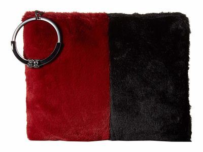 Sam Edelman - Sam Edelman Cranberry/Black Color Block Fur Mavis Organizer Clutch Clutch Bag