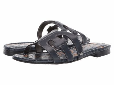 Sam Edelman - Sam Edelman Women Baltic Navy Modena Calf Leather Bay Flat Sandals