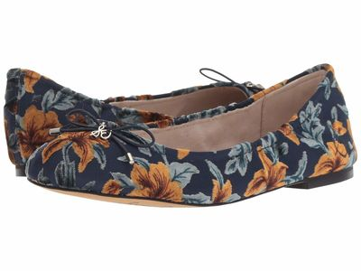 Sam Edelman - Sam Edelman Women Baltic Navy Multi Lavish Floral Velvet Burnout Felicia Flats
