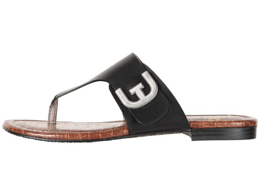 Sam Edelman Women Black Vaquero Saddle Leather Barry Flip Flops