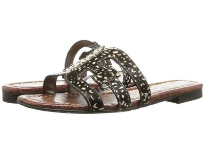 Sam Edelman - Sam Edelman Women Black/Black/İvory Dotted Brahma Hair Bay Flat Sandals