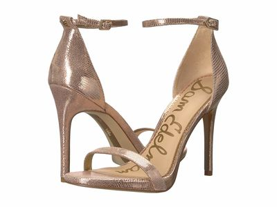 Sam Edelman - Sam Edelman Women Blush Gold New Glamour Lizard Print Leather Ariella Strappy Sandal Heel Heeled Sandals