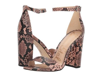 Sam Edelman - Sam Edelman Women Dusty Rose Royal Snake Print Goat Leather Yaro Ankle Strap Sandal Heel Heeled Sandals