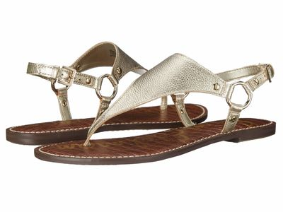 Sam Edelman - Sam Edelman Women Jute Tumbled Opal Metallic Leather Greta Flat Sandals