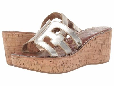 Sam Edelman - Sam Edelman Women Light Gold Leather Regis Heeled Sandals
