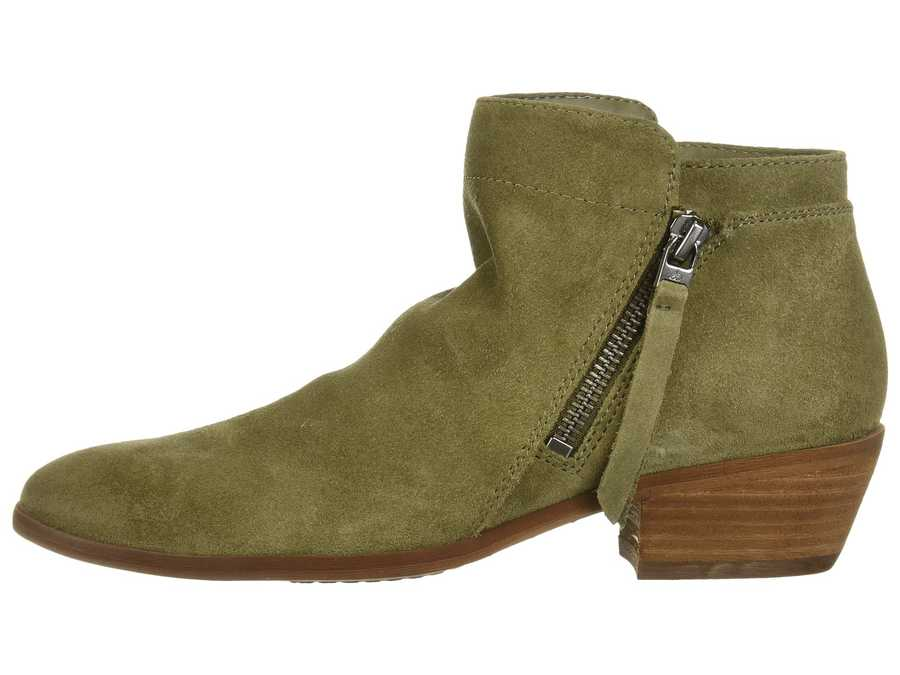 Sam Edelman Women Moss Green Velutto Suede Leather Packer Ankle Bootsbooties
