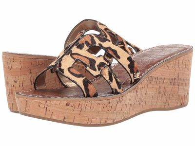 Sam Edelman - Sam Edelman Women New Nude Leopard Brahma Hair Regis Heeled Sandals