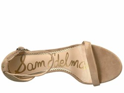 Sam Edelman Women Oatmeal Suede Leather Ariella Strappy Sandal Heel Heeled Sandals - Thumbnail