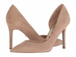 Sam Edelman Women Oatmeal Suede Leather Harrah Pumps - Thumbnail