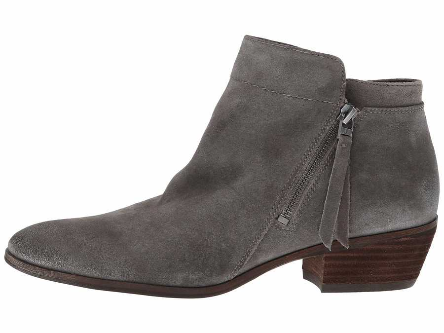 Sam Edelman Women Steel Grey Velutto Suede Leather Packer Ankle Bootsbooties