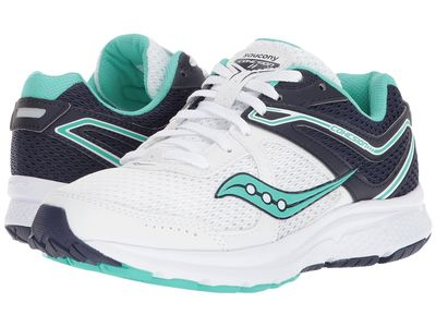 Saucony - Saucony Women White/Navy/Teal Cohesion 11 Running Shoes